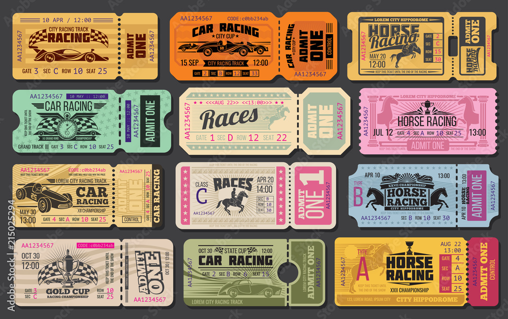 Fototapety, obrazy: Car and horse racing retro tickets