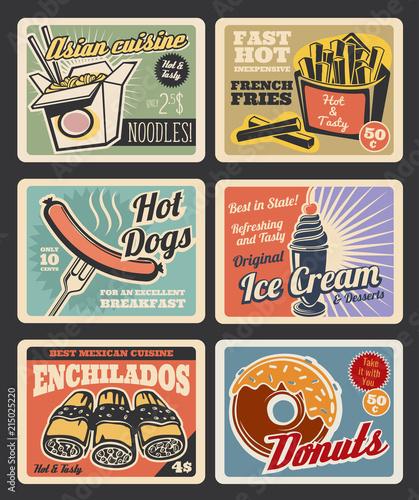 Fast food restaurant menu retro posters © Vector Tradition