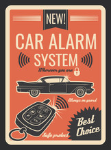 Car Alarm System Vintage Poster With Key And Lock