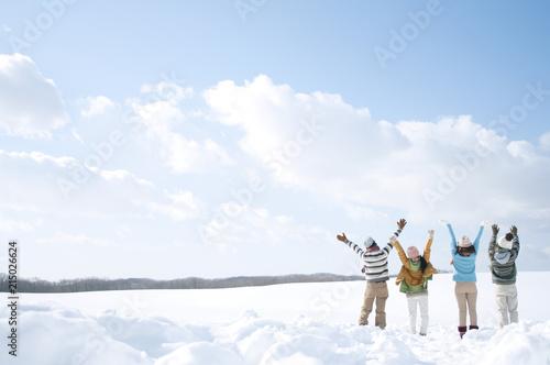 雪原で両手を広げる若者たちの後姿 Fototapet