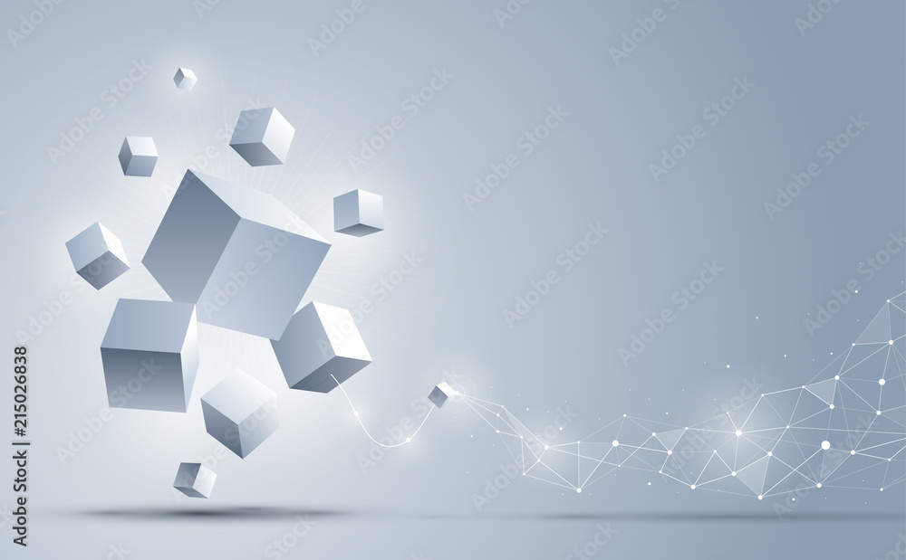 Fototapeta Abstract 3d cubes background. Abstract background connection with geometric cubes. Science and technology. Big data and Internet connection. Vector illustration.
