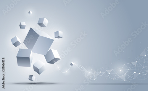 Abstract 3d cubes background Wallpaper Mural
