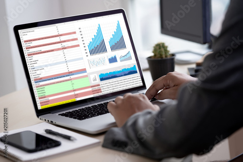 Photo  man business analytics and financial Business finances and accounting concept