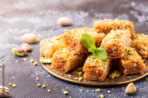 Homemade baklava with nuts and honey. Wallpaper Mural