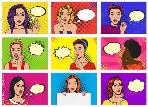Poster Pop Art Comic woman vector popart cartoon girl character speaking bubble speech or comicgirl illustration female set of beautiful lady pinup with pretty face in fashion style on background