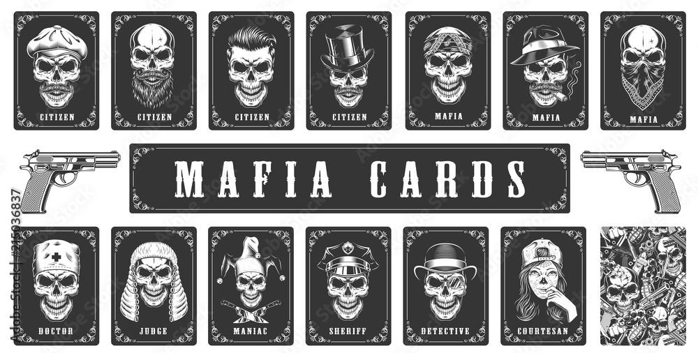 Fototapeta Cards for the mafia game