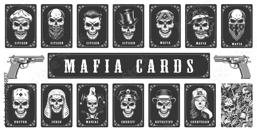 Fototapeta Cards for the mafia game
