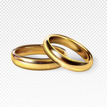 Golden Wedding Rings 3d Realistic Vector Illustration For Engagememtn, Save The Dage And Marriage Greeting And Invitation Card Design Template. Isolated On White Background