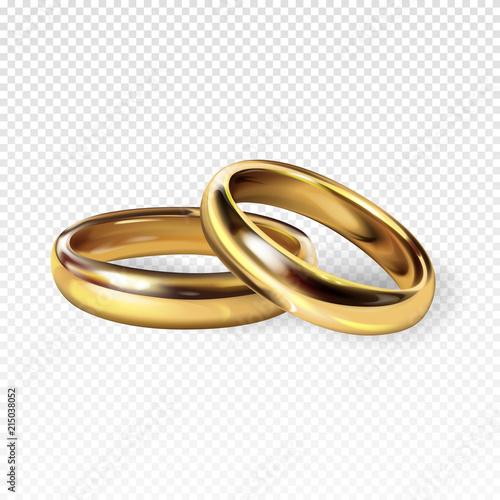 Golden Wedding Rings 3d Realistic Vector Illustration For