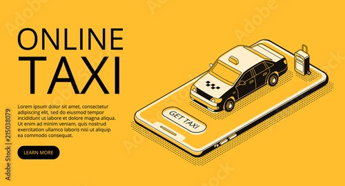 Taxi online service vector illustration in thin line art and black isometric halftone style Fototapet