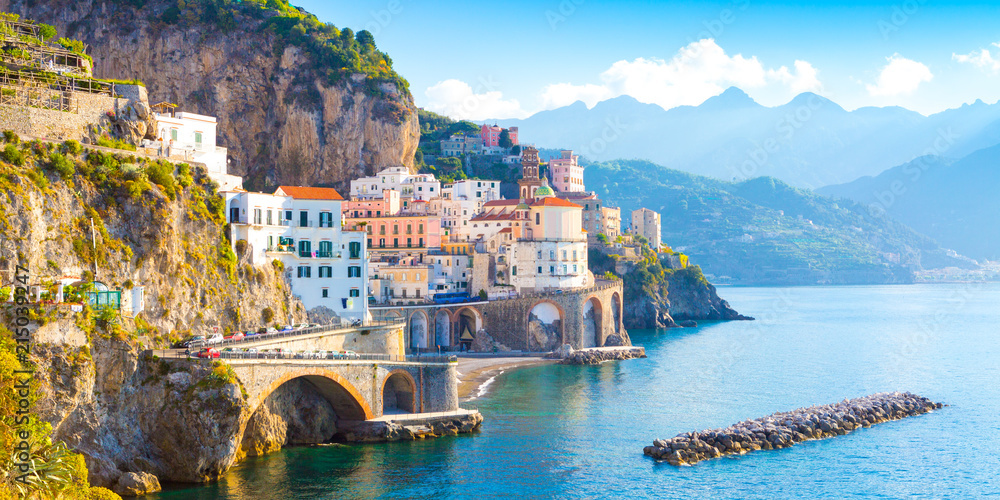 Fototapety, obrazy: Morning view of Amalfi cityscape on coast line of mediterranean sea, Italy