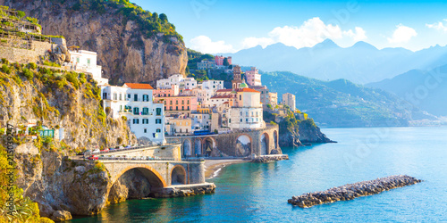 Cote Morning view of Amalfi cityscape on coast line of mediterranean sea, Italy
