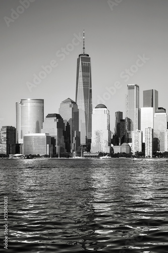 Poster New York City Black and white picture of New York City skyline at sunset, USA