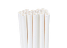 Close Up On White Paper Straws...
