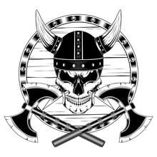 Skull In Helmet With Horns Wit...