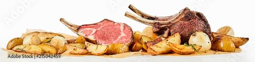 Stampa su Tela Panorama banner of barbecued lamb chops