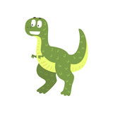 Fototapeta Dinusie - Cute cartoon green dinosaur, prehistoric dino character vector Illustration on a white background