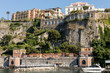 View of houses and hotels on the cliffs in Sorrento. Gulf of Naples, Campania, Italy