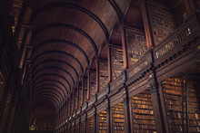 DUBLIN, IRELAND -  JULY 14, 2018: The Long Room In The Trinity College Library On July 14, 2018 In Dublin, Ireland.