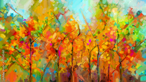 Photo  Abstract colorful oil painting landscape on canvas