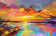 Leinwandbild Motiv Colorful oil painting on canvas texture. Impressionism image of seascape paintings with sunlight background. Modern art oil paintings of sunset over sea and beach. Abstract contemporary art