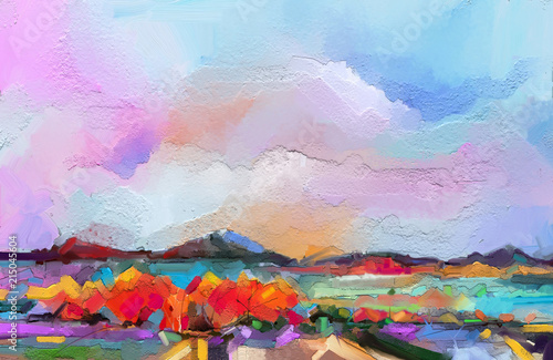 Abstract oil painting landscape. Colorful blue purple sky. Oil painting outdoor on canvas. Semi abstract tree ,field, river,meadow. Abstraction Landscape nature, contemporary art for background