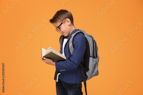 Photo  Little school boy with backpack and book.