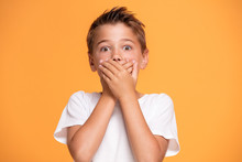 Young Emotional Little Boy On Orange Studio Background.