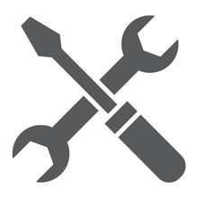 Screwdriver And Wrench Glyph Icon, Settings And Repair, Service Sign, Vector Graphics, A Solid Pattern On A White Background, Eps 10.
