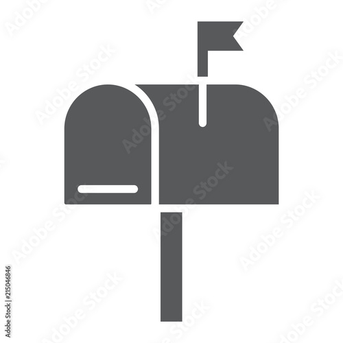 Fotomural Mail box glyph icon, letter and post, mailbox sign, vector graphics, a solid pattern on a white background, eps 10