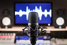 Microphone On Recording, Broadcasting Studio Equipment Background
