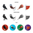 Sitting crow, horn with drink, ham, victory flag. Vikings set collection icons in cartoon,flat,monochrome style vector symbol stock illustration web.
