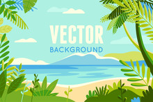 Vector Illustration In Trendy Flat And Linear Style - Background With Copy Space For Text - Plants, Leaves, Palm Trees And Sky - Beach Landscape