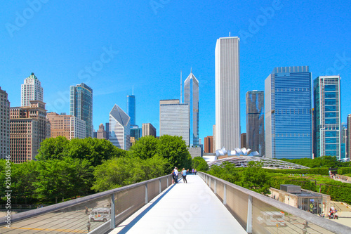 Fotobehang Amerikaanse Plekken USA - Chicago and Millennium Park view from a bridge