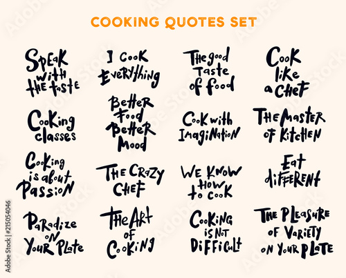 Set of handwritten lettering quotes and phrases about cooking.Se