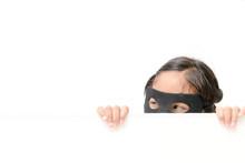 Superhero Girl Hide Behind Whi...