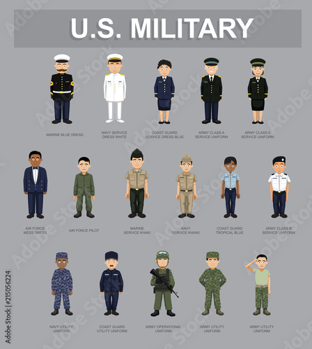 US Military Unifrom Cartoon Characters Vector Illustration Fototapeta