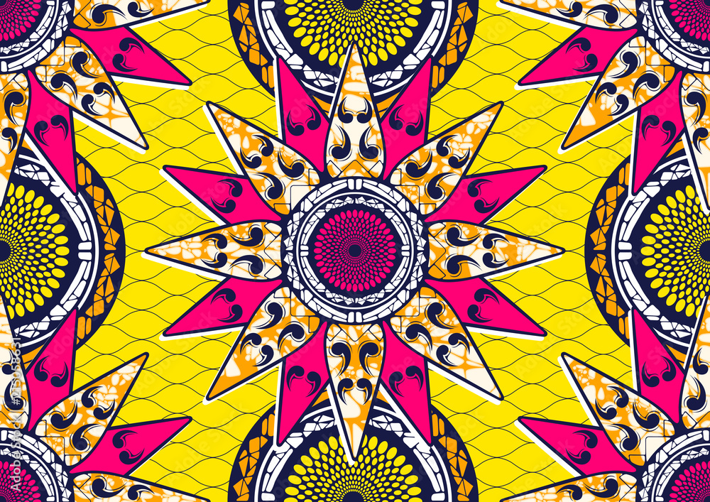 Textile fashion african print fabric, abstract seamless, vector illustration file. <span>plik: #215058631 | autor: kirkchai</span>
