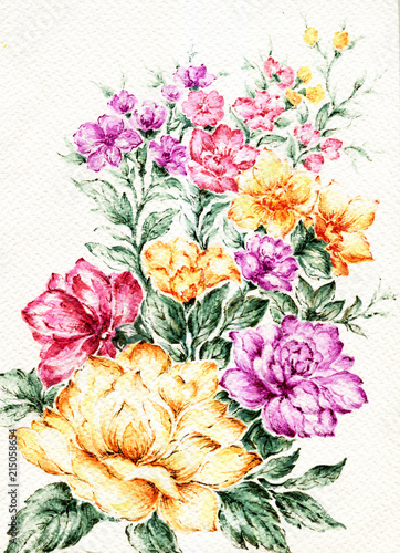 Watercolor background colorful abstract flowers in Spring and summer
