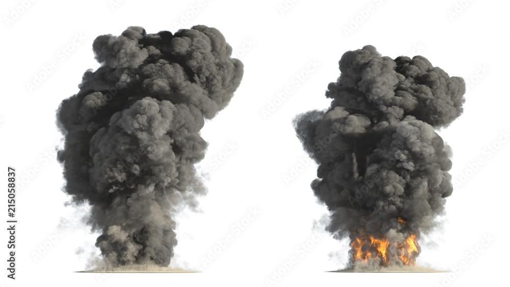 Fototapety, obrazy: fire and smoke on white background