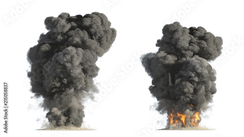 Poster Fumee fire and smoke on white background