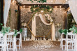 canvas print picture - Magnificent decoration of a wedding ceremony with original details and candles.