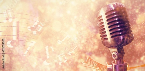 Composite image of close-up of microphone  - 215059200