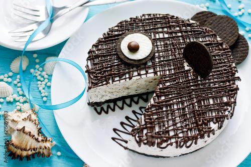 Fototapeta Funny fish cake for kids party obraz
