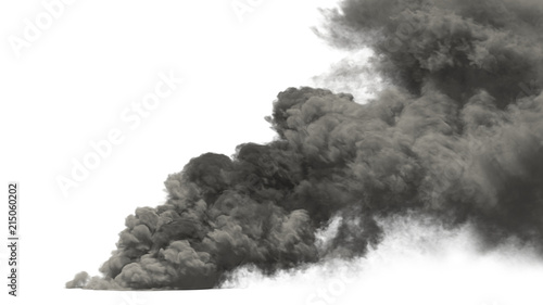 Poster de jardin Fumee large smoke on white background