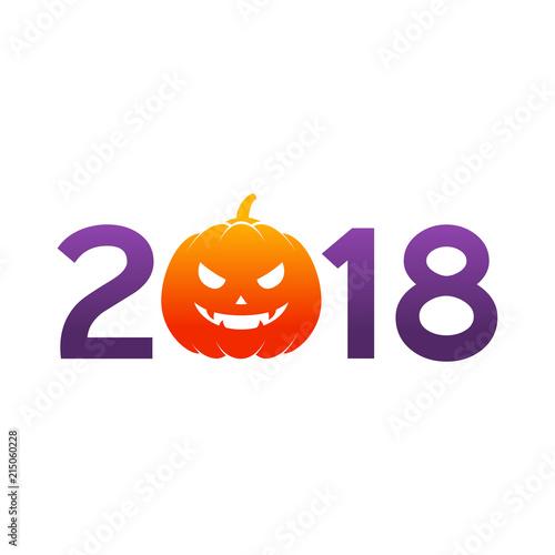 Icono plano 2018 con calabaza Halloween en naranja y morado - Buy ...
