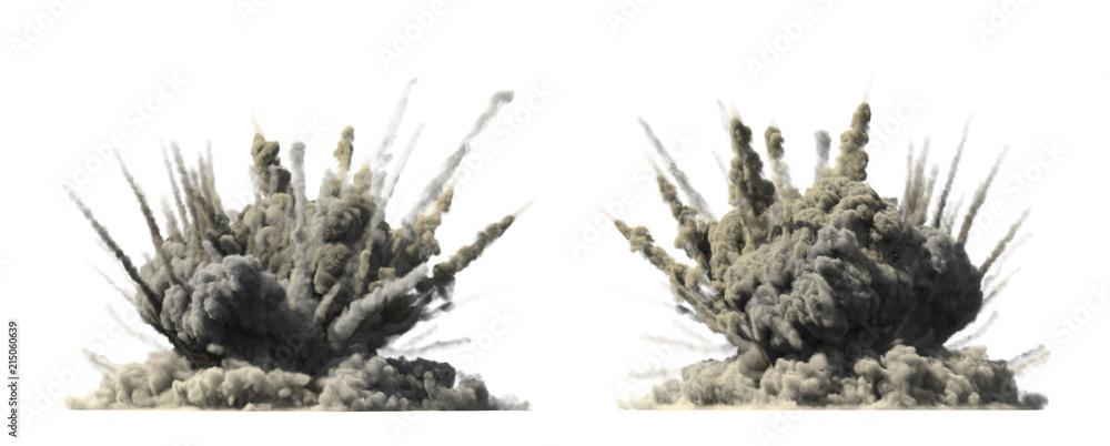 Fototapeta Big explosion on white