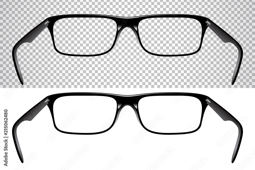 Fototapety, obrazy: Realistic glasses for vision, back view, isolated on white