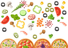 Group Of Pizza With Ingredients. Flat Style Design. Concept For Menu Of Pizzeria, Cafe, Restaurant. Vector Illustration On White Background