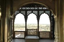 Open And Richly Ornamented Hall City Palace Karauli Rajasthan India